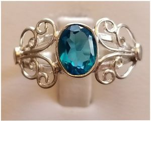 1ct Swiss Blue Topaz Ring Size 8